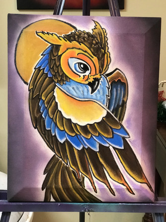 "Owl, Moon, Painting, Oils, Hand streched Canvass, 14""x18"", Frankie Bonze, House Of Pain, 30 Holiday Rambler, Byram, Mississippi, 39272"