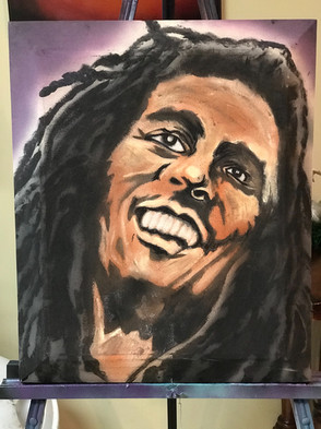 """Bob Marley, Painting, Oils, Hand streched Canvass, 14""""x18"""", Frankie Bonze, House Of Pain, 30 Holiday Rambler, Byram, Mississippi, 39272"""