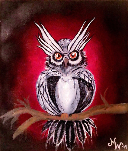 Owl Oil Painting Print