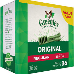 GREENIES Original REGULAR Natural Dental Care Dog Treats, (36 Treats)