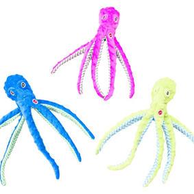 Stuffingless Octopus Dog Toy Tug