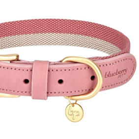 Soft Leather Dog Collar in Pink 12 to 15in