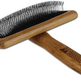 Bamboo Groom Slicker Brush with Stainless Steel Pins for Pets