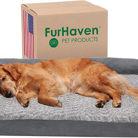 Furhaven Pet Dog Bed - Deluxe Orthopedic Two-Tone Plush Faux Fur