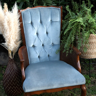 Baby Blue Tufted High Back