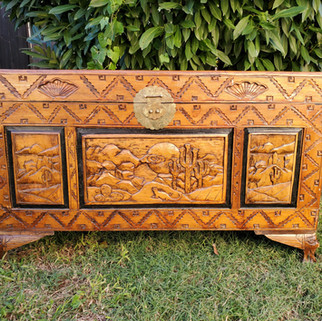 Hand Carved Wood Trunk