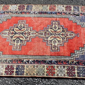 Hand-Knotted Turkish Red Rug