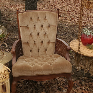 Taupe Tufted High Back Chair