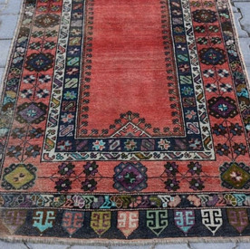 Hand-Knotted Turkish Pink Rug