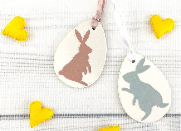 Fabric Bunnies on Ceramic Eggs