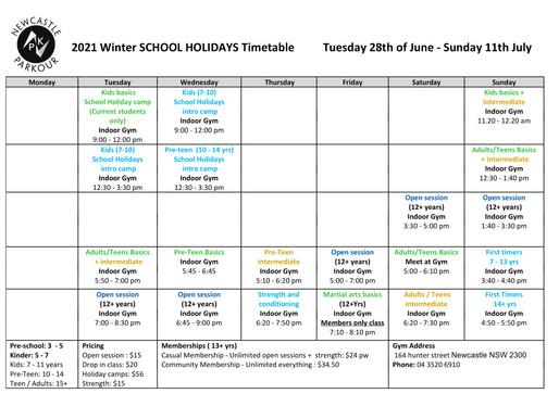 Winter School Holidays Timetable
