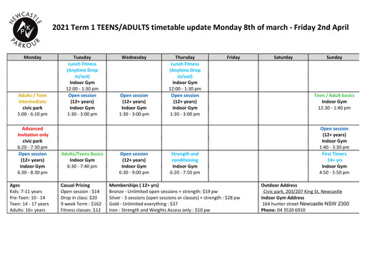 Timetable update!