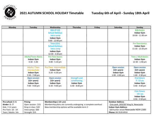 Autumn School holiday timetable!