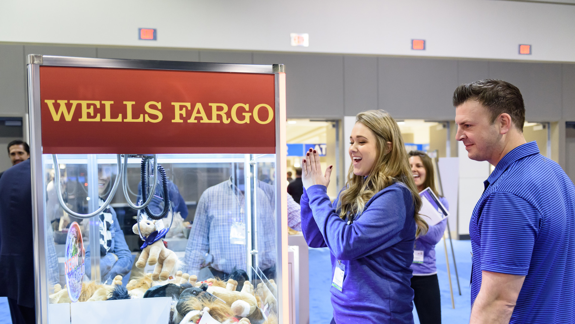 An attendee winning a Wells Fargo horse in 2018.
