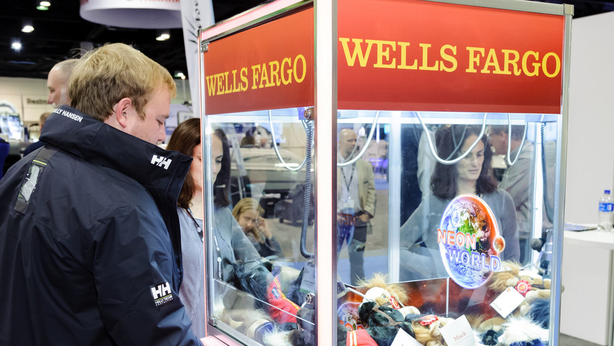 The Wells Fargo booth in 2018.