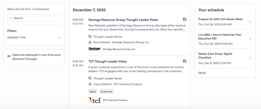 A screenshot of the Thought Leader Series that took place at Dealer Week in 2020.