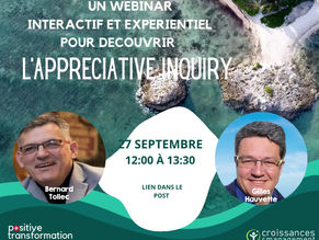 WEBINAR sur l'Appreciative Inquiry 27 septembre 12:00 à 13:30