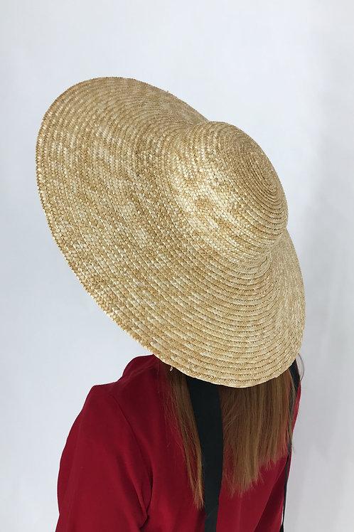 Шляпа с плоским верхом и широкими полями (13 см)