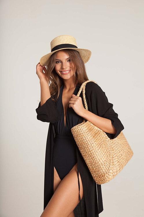 ПАЧЕ ЛЕТО: кимоно + слитный купальник с глубоким декольте + шляпа + сумка-шопер