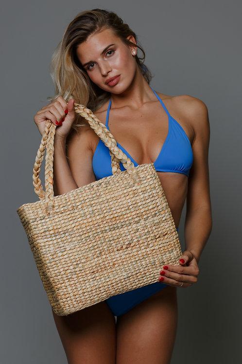 Соломенная сумка-шопер с плетеными ручками