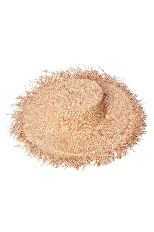 Straw hat with fringe