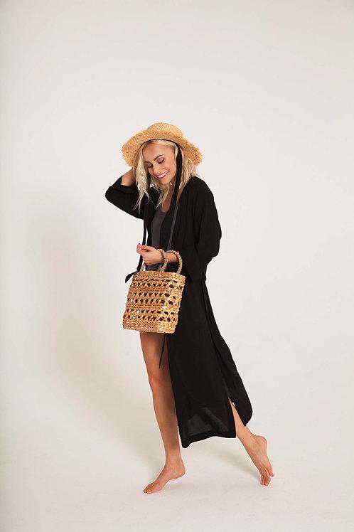 ПАЧЕ ЛЕТО: кимоно + купальник на широких бретелях + шляпа + сумка крупного плет.