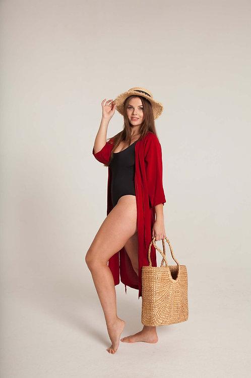 ПАЧЕ ЛЕТО: кимоно + слитный купальник на широких бретелях + шляпа + сумка-шопер