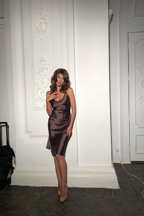 Платье-комбинация из натурального шёлка длины миди