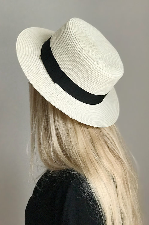 Шляпа-канотье с широкой лентой, поля 6 см