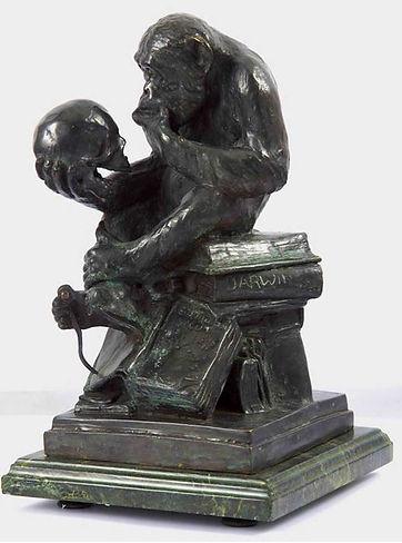 Darwin-monkey-sculpture-ape-human-skull.JPG