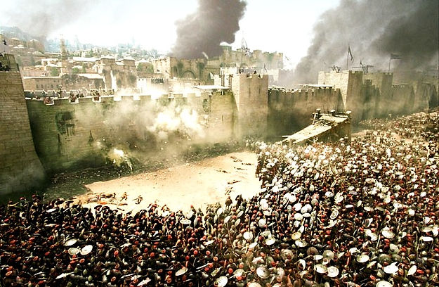 The city of Jerusalem under seige by Roman legions in 67 to 70 a. d.