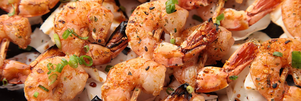 Canapés - Spicy Grilled Shrimps On Skewers