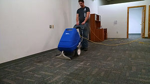 carpet cleaning with a Clarke Clean Track floor machine