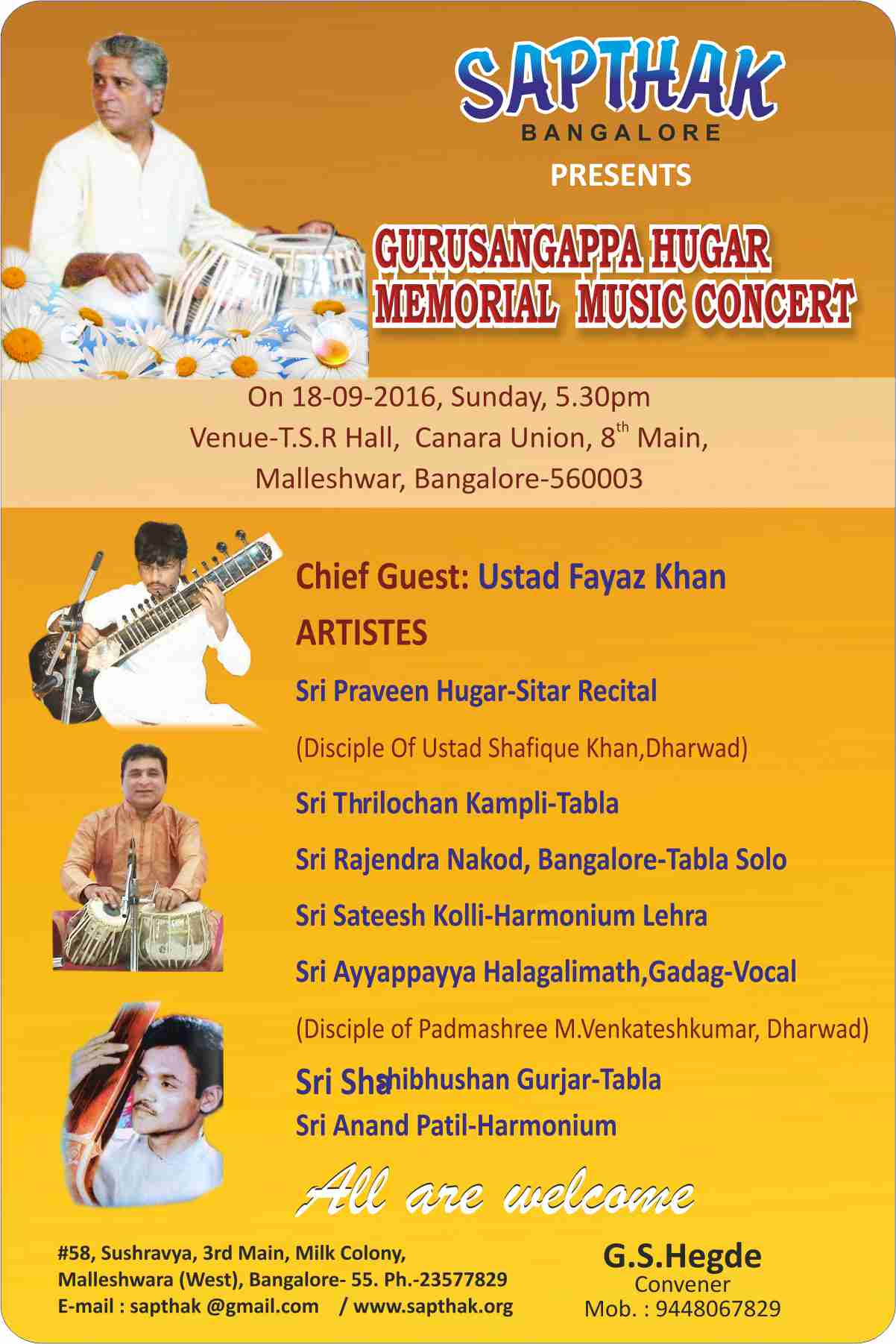 Gurusangappa Hugar English Invitation