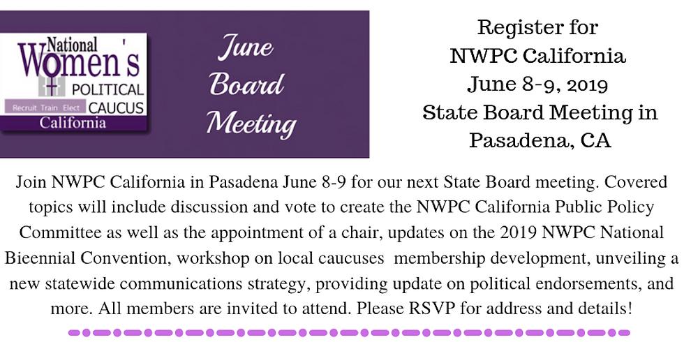 NWPC California State Board Meeting