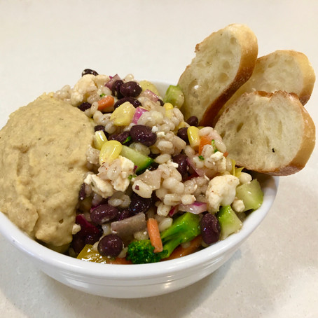 From The North Grove's Kitchen: Black Bean and Barley Salad with Red Lentil Hummus