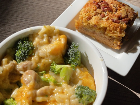 From The North Grove's Kitchen: One Pot Chicken and Rice Vegetable Casserole and Pumpkin Dump Cake