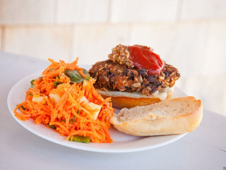 From The North Grove's Kitchen: Delicious Veggie Burgers with Carrot and Herb Salad