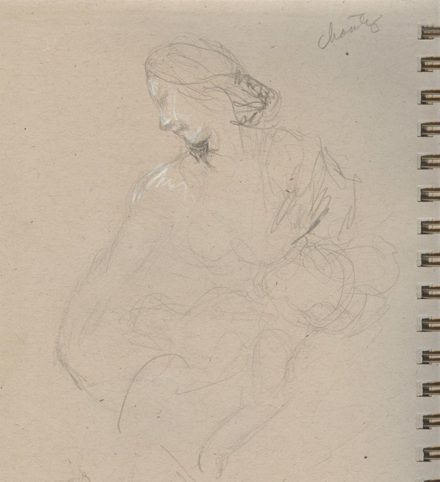 Sketches of Benini sculptures Kimbell  Art Museum Tracy H Sugg (5).jpg