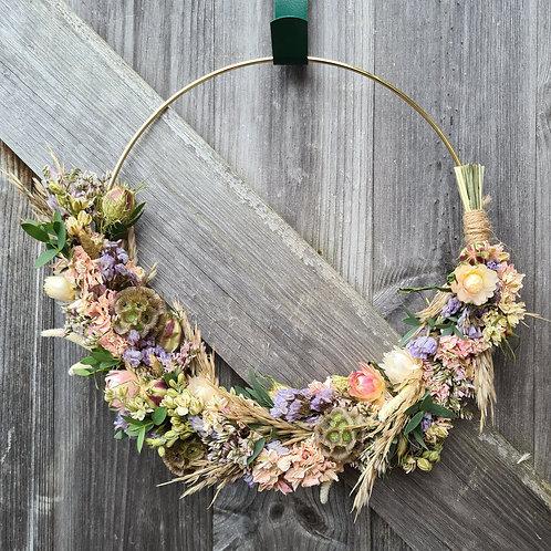 Dried flower asymmetric wreath