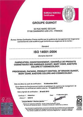 Certificats Guinot Nathéa