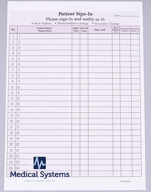WPSGN-BY Sign In Label Sheets - Burgundy (125 sheets)