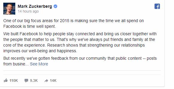 Facebook Announcement for 2018