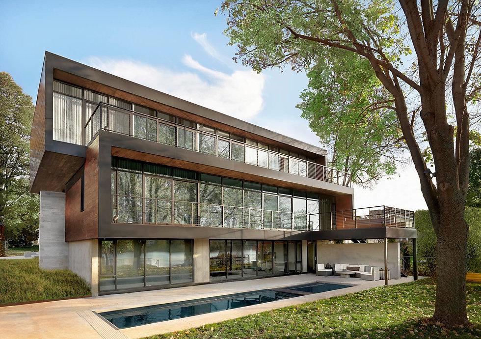 Modern residential home built in Wisconsin by Chicago architecture firm
