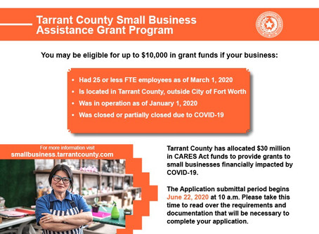 New Grants: Tarrant County Small Businesses (outside of Fort Worth)