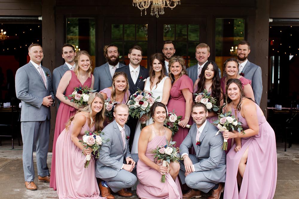 wedding party, bridesmaid dresses, blush-toned bridesmaid dresses, pink bridesmaid dresses, summer wedding, grey suit, groomsmen fashion, Minnesota wedding
