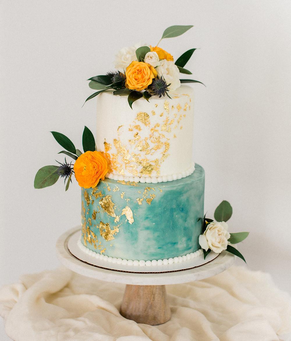 wedding cake, turqoise cake, tiffany blue cake, marble cake, gold leaf wedding cake