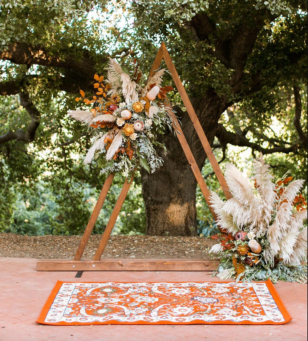 Triangular wedding arch, pampas grass wedding decor, Boho wedding arch, At-home Wedding arch, Persian Rug Wedding Decor