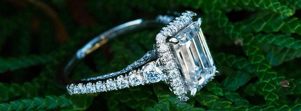 diamonds and ferns, diamonds and succulents, emerald cut diamond, emerald cut engagement ring, engagement ring, halo mounting