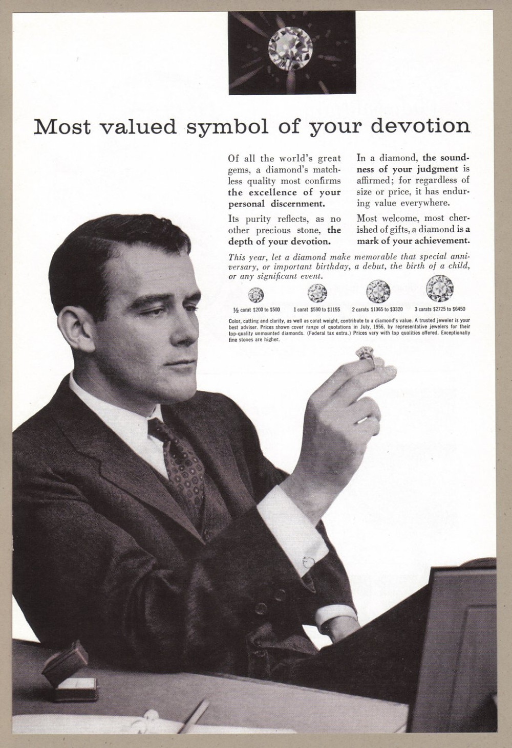 old advertisement, old diamond advertisement, old engagement ring advertisement, man in suit, man diamonds, tie, suit coat, jewelry box, picture frame, pen, pencil, paper,